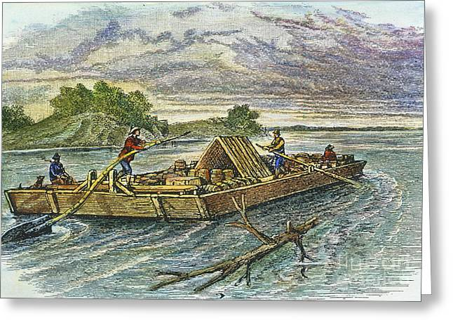 19th Century America Greeting Cards - FLATBOAT, 19th CENTURY Greeting Card by Granger