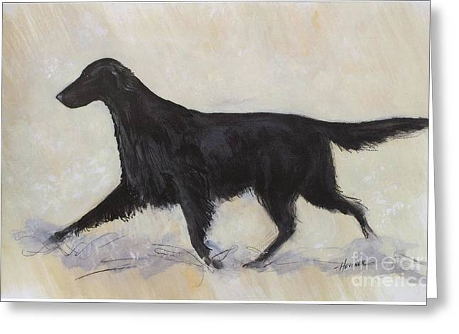 Dog Trots Paintings Greeting Cards - Flatcoat Retriever Greeting Card by Ron Hevener
