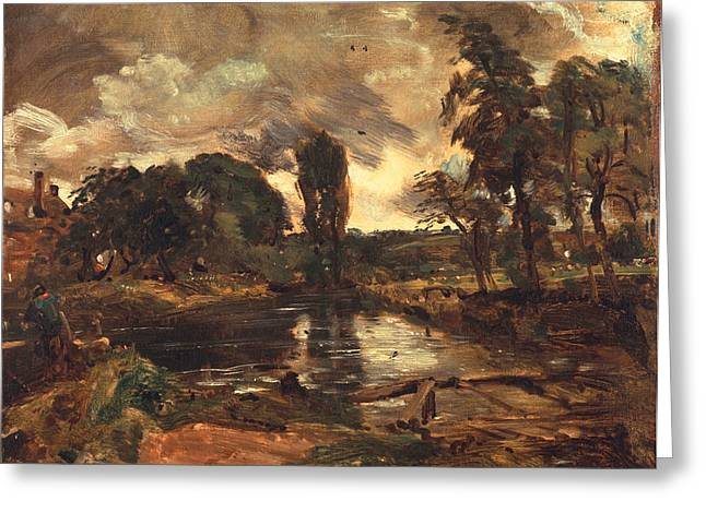Thunderstorm Greeting Cards - Flatford Mill from the Lock Greeting Card by John Constable