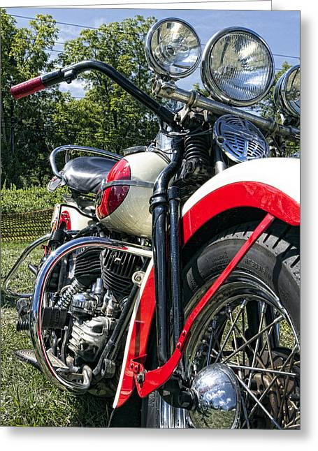 Handlebar Greeting Cards - Flathead Greeting Card by Peter Chilelli