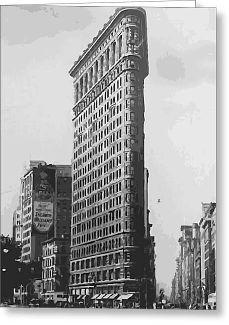 Flat Iron Building Greeting Cards - Flatiron Building BW16 Greeting Card by Scott Kelley