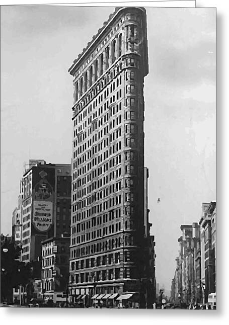 Flat Iron Building Greeting Cards - Flatiron Building BW50 Greeting Card by Scott Kelley