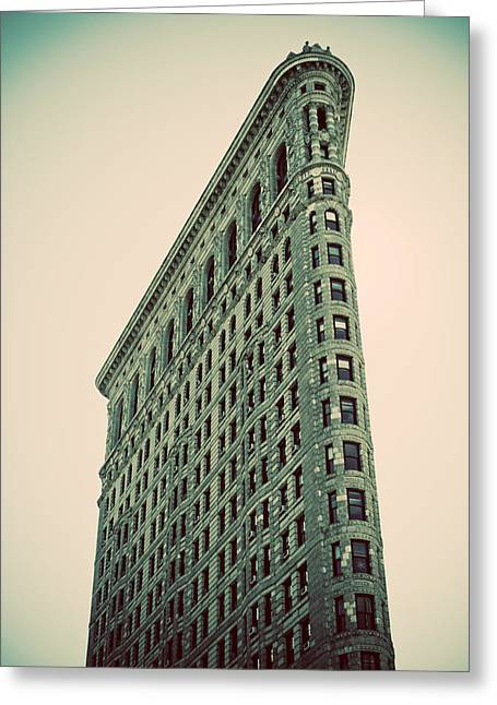 Yellow Dog And Truck Greeting Cards - Flatiron Building Greeting Card by Darren Martin