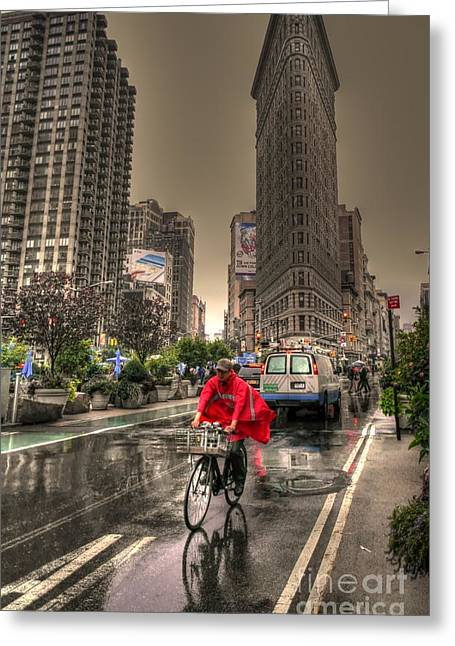 Flatiron In The Rain Greeting Card by David Bearden