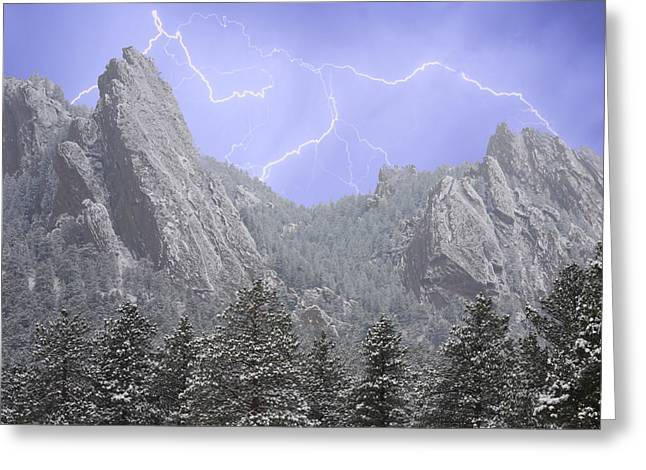 Flatirons Greeting Cards - Flatirons Lightning Greeting Card by James BO  Insogna