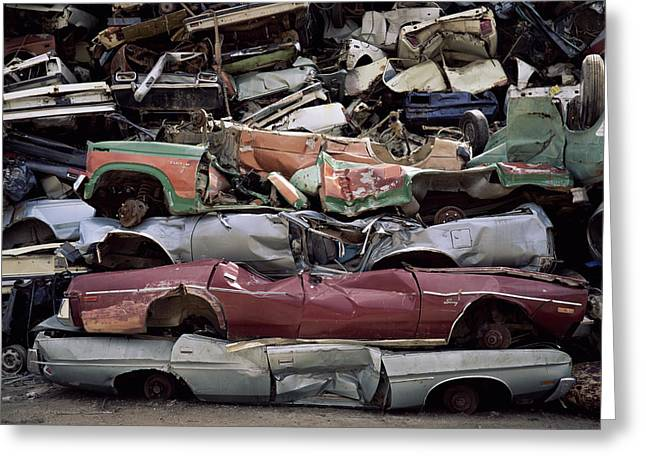 Flattened Greeting Cards - Flattened Car Bodies Greeting Card by Dirk Wiersma