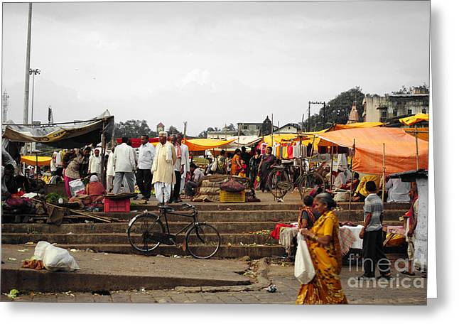 Ethnic Greeting Cards - Flea market at a village in india Greeting Card by Sumit Mehndiratta