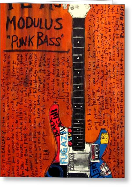 Red Hot Chili Peppers Greeting Cards - Flea Modulus Punk Bass Greeting Card by Karl Haglund