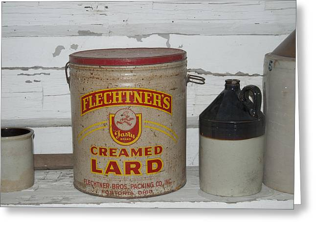 Pealed Greeting Cards - Flechtners Creamed Lard Greeting Card by Michael Peychich