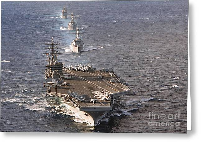 Dwight D. Eisenhower Greeting Cards - Fleet Of Ships Sail In Formation At Sea Greeting Card by Stocktrek Images