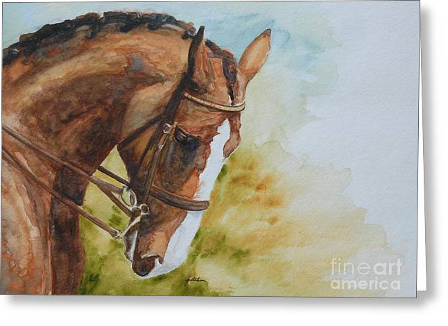 Watercolor. Equine. Bridle Greeting Cards - Flex Greeting Card by Gretchen Bjornson