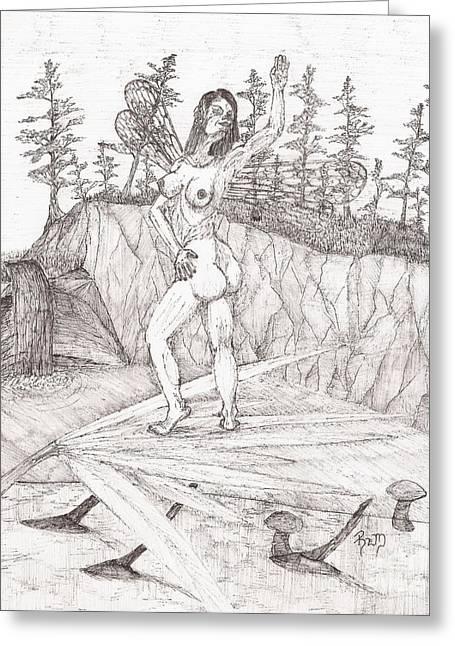 Recently Sold -  - Robert Meszaros Greeting Cards - Flexible In The Morning... - Sketch Greeting Card by Robert Meszaros
