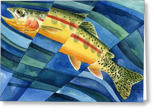 Gold Trout Greeting Cards - Flickering Gold Greeting Card by Mark Jennings