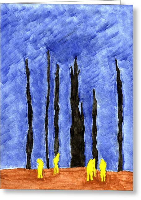 Terrorism Paintings Greeting Cards - Flight 93 Greeting Card by Eric Forster