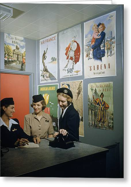Women Only Greeting Cards - Flight Attendants Stand And Talk Greeting Card by B. Anthony Stewart