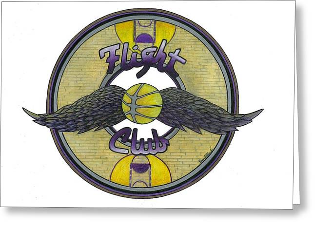 Lakers Drawings Greeting Cards - Flight Club Greeting Card by Steve Weber