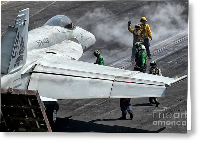 F-18 Greeting Cards - Flight Deck Crew Position An Fa-18e Greeting Card by Giovanni Colla