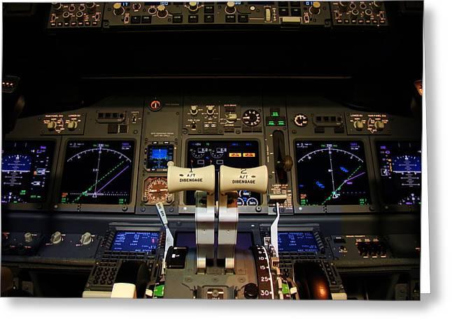 Control Panels Greeting Cards - Flight deck. Greeting Card by Fernando Barozza