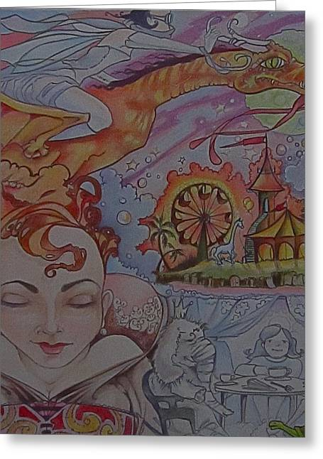 Recently Sold -  - Jackie Rock Greeting Cards - Flight Of Fancy Greeting Card by Jackie Rock