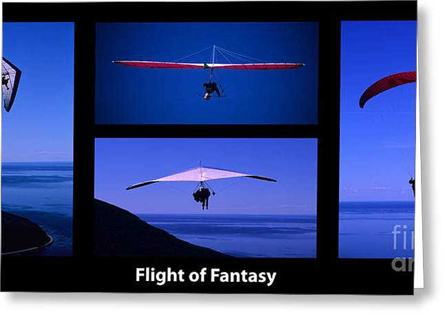 Para Sailing Greeting Cards - Flight Of Fantasy With Caption Greeting Card by Bob Christopher