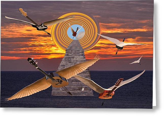 Eric Kempson Greeting Cards - Flight Of The Guitars Greeting Card by Eric Kempson