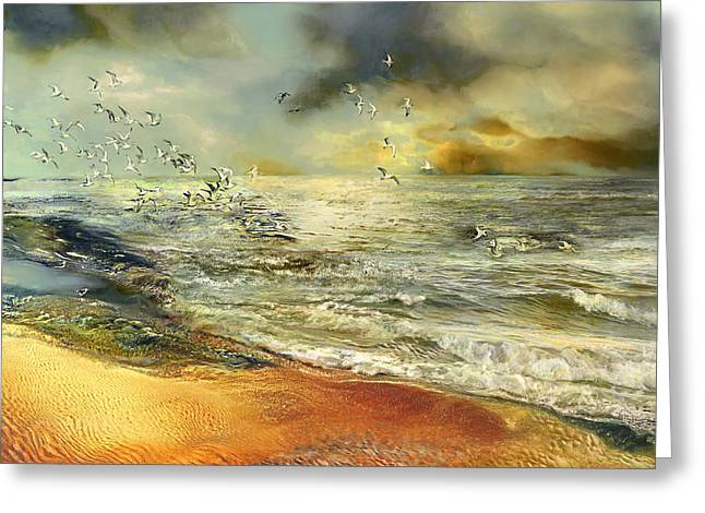 Atlantic Beaches Greeting Cards - Flight of the seagulls Greeting Card by Anne Weirich