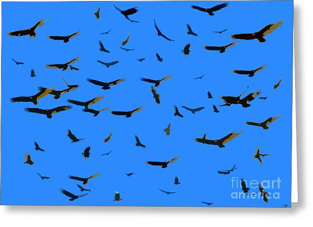Sour Digital Art Greeting Cards - Flight of the Vultures Greeting Card by David Lee Thompson