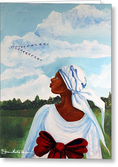 Slavery Paintings Greeting Cards - Flight Path Greeting Card by Diane Britton Dunham