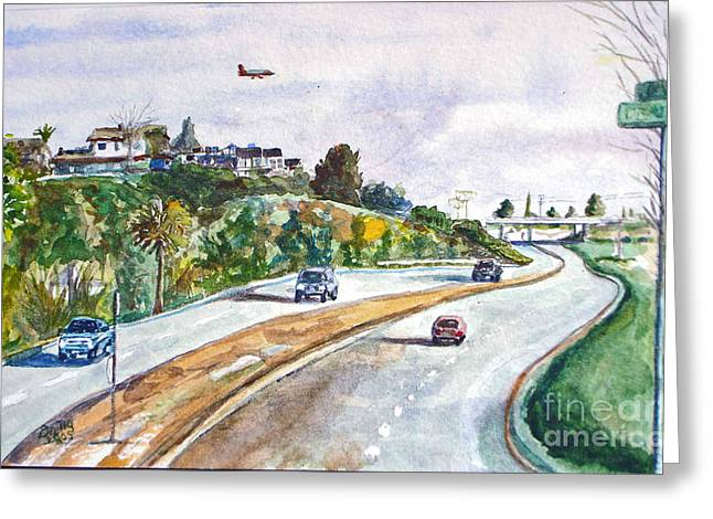 Flight To Bakersfield Greeting Card by Drina Fried