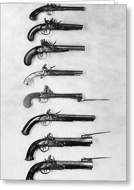 Bayonet Greeting Cards - Flintlock Pistols Greeting Card by Granger