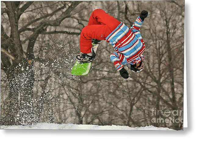 Snowboard Greeting Cards - Flippin Greeting Card by Lois Bryan