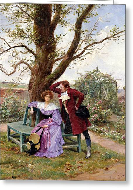 Conversations Greeting Cards - Flirtation Greeting Card by Georges Jules Auguste Cain