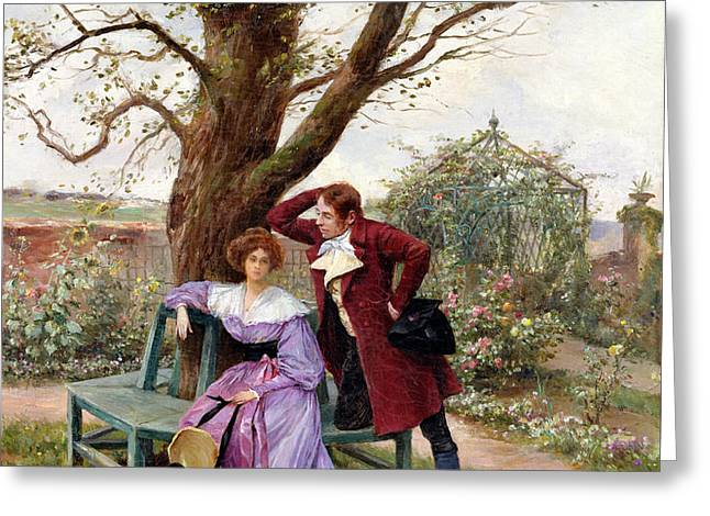 Flirtation Greeting Card by Georges Jules Auguste Cain