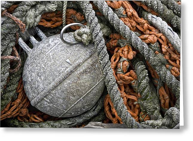 Monochrome Greeting Cards - Float and Fishing Nets Greeting Card by Carol Leigh
