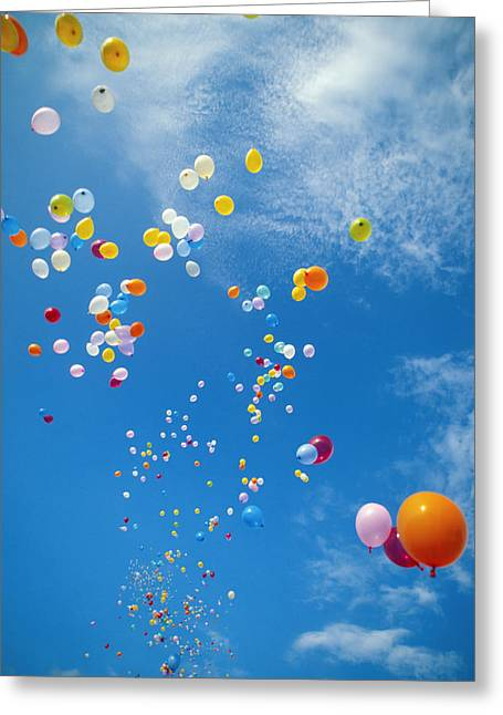 Helium Greeting Cards - Float Away Greeting Card by Bob Abraham - Printscapes