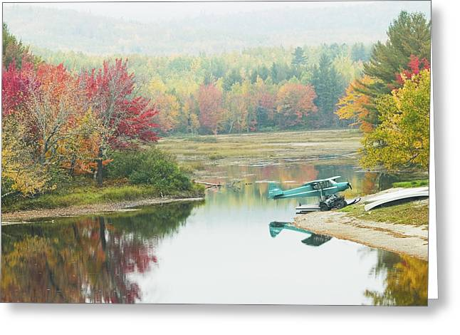 Seaplane Greeting Cards - Float plane On Pond Near Golden Road Maine Photo Poster Print Greeting Card by Keith Webber Jr