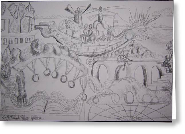 Lanscape Drawings Greeting Cards - Floating Away on the Wind Greeting Card by Timothy  Foley