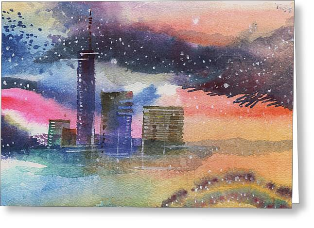 Unique View Mixed Media Greeting Cards - Floating City Greeting Card by Anil Nene