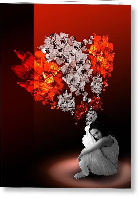 Floating Girl Greeting Cards - Floating dreams Greeting Card by Anna Z
