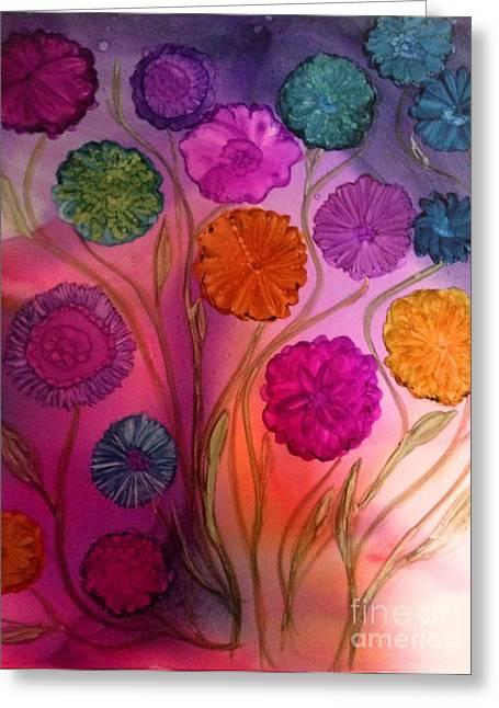 Angel Mermaids Ocean Greeting Cards - Floating Flowers Greeting Card by Joyce Auteri