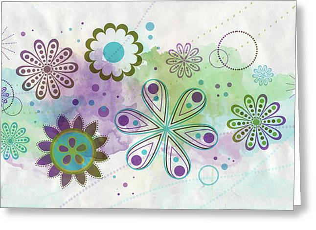 Abstract Digital Mixed Media Greeting Cards - Floating flowers Greeting Card by Nomi Elboim