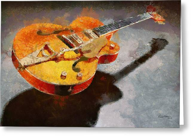 Instruments Pastels Greeting Cards - Floating Guitar Greeting Card by Russ Harris