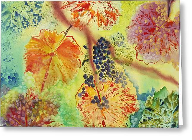 Grapevine Leaf Paintings Greeting Cards - Floating Greeting Card by Karen Fleschler