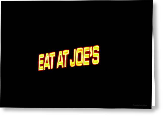 Best Sellers -  - Statue Portrait Greeting Cards - Floating Neon - Eat At Joes Greeting Card by Deborah  Crew-Johnson