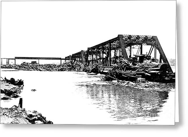 River Flooding Greeting Cards - Flood Damage, 1903 Greeting Card by Science Source
