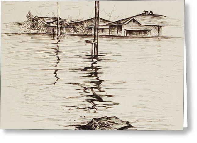 Flooding Paintings Greeting Cards - Flood St. Greeting Card by Sarah Lonthier