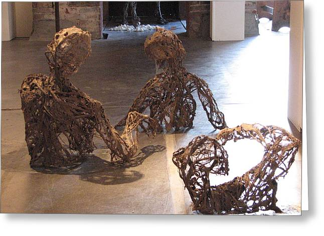River Sculptures Greeting Cards - Flood Victims back view Greeting Card by Kyle Ethan Fischer