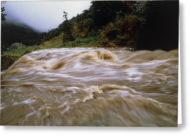 Flooding Greeting Cards - Flooded Stream Pouring Down Steep Slopes In Valley Greeting Card by Dr Morley Read