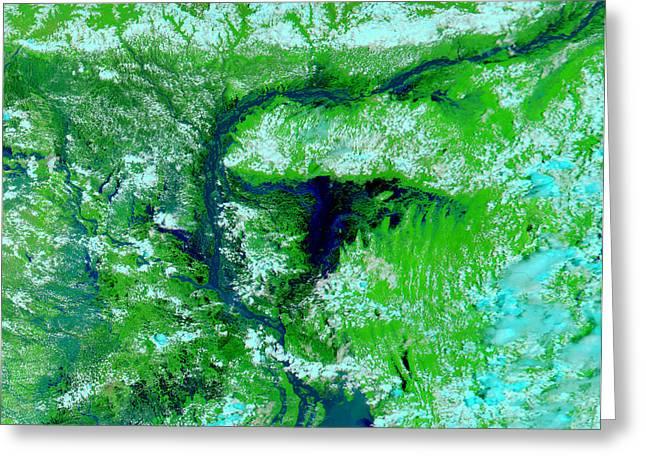 Flooding Greeting Cards - Flooding In Bangladesh Greeting Card by Nasa
