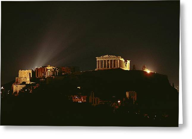 Acropolis Greeting Cards - Floodlights Illuminate The Acropolis Greeting Card by James P. Blair